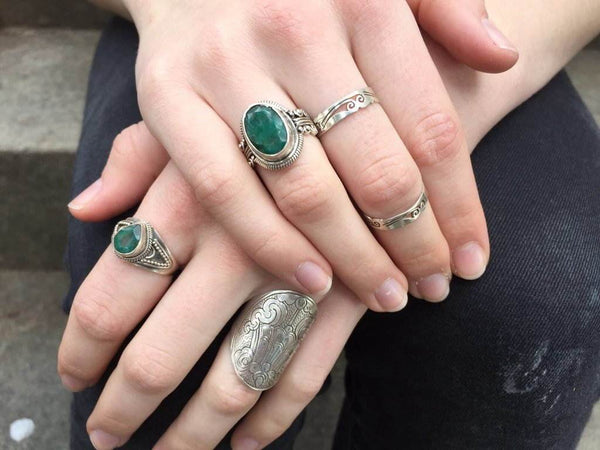 [Sterling silver emerald beryl gemstone ring bohemian boho gypsy jewellery jewelery hippie]- The Namaste Boutique