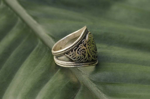 [Sterling silver filigree ring bohemian boho gypsy jewellery jewelery hippie]- The Namaste Boutique
