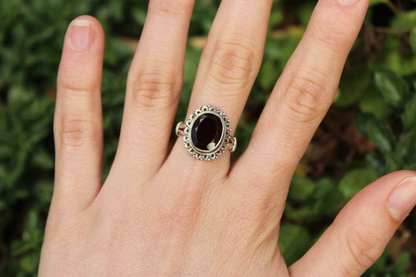 [Sterling silver garnet ring bohemian boho gypsy jewellery jewelery hippie]- The Namaste Boutique