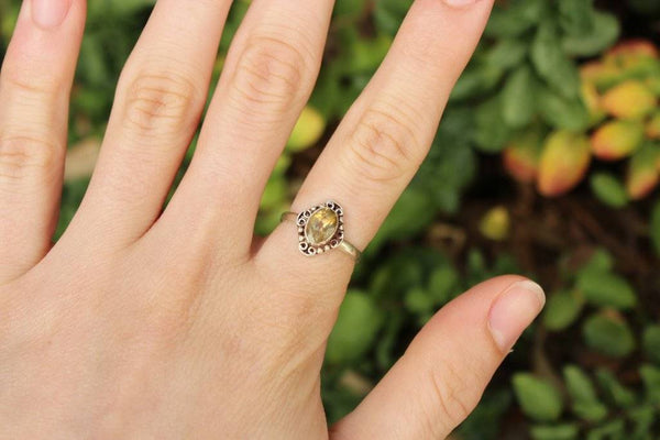 [Sterling silver golden topaz ring bohemian boho gypsy jewellery jewelery hippie]- The Namaste Boutique