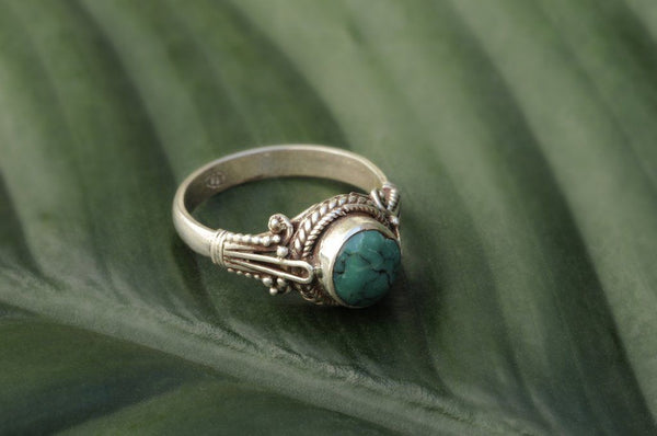[Large sterling turquoise eye gemstone ring Gypsy bohemian style jewelry or jewellery]- The Namaste Boutique