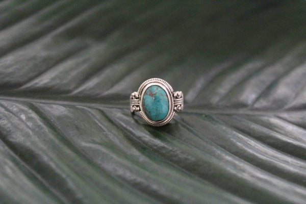 Sterling silver turquoise small gemstone ring gypsy bohemian ring Hippie style jewelery Boho