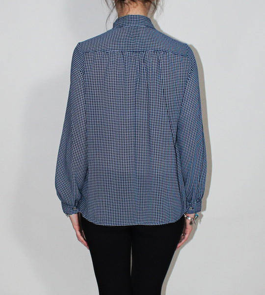 Navy Grid Dress Top