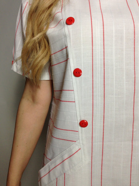 Custom Vintage Candy Striper Linen Shift Dress