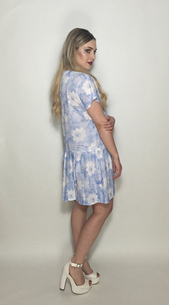 Custom Vintage Dress w Blue & White Flowers