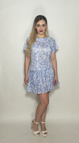 Custom Vintage Blue Princess Line Dress w White Flowers