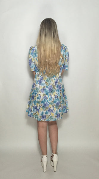 Custom Vintage Dress w Blue, Green & Yellow Flowers