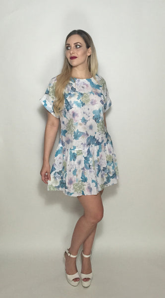 Custom Vintage Watercolour Dress w White Pocket Square