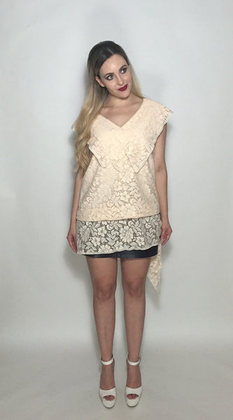 Cream Three Point Lace Top