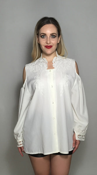 White Cut It Out Embroidered Top