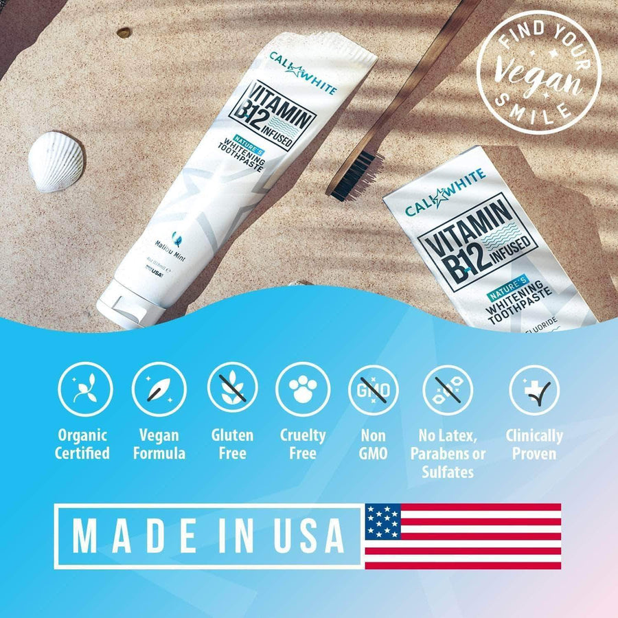 Cali White Vegan B-12 Infused Teeth Whitening Toothpaste
