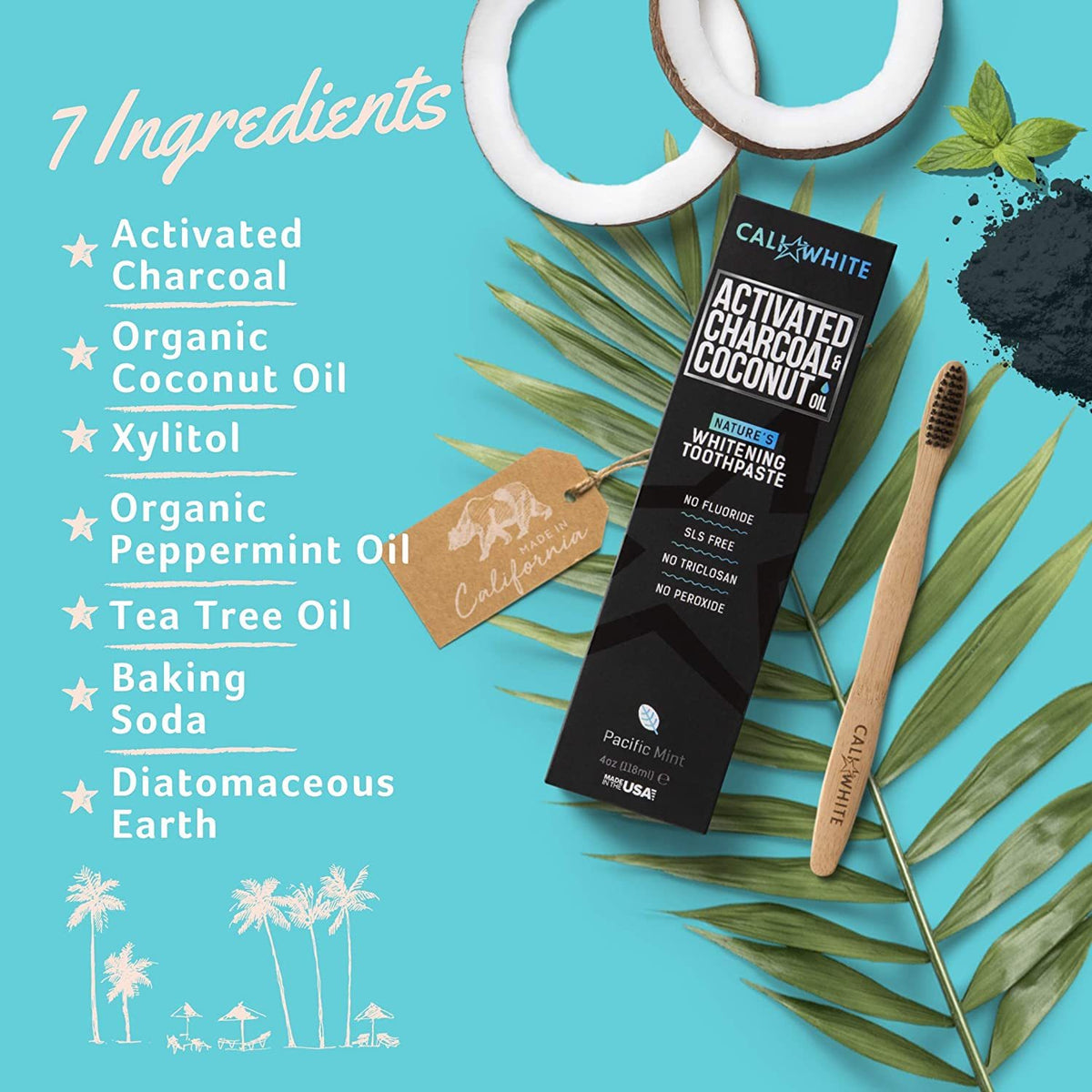 Activated Charcoal Organic Coconut Oil Toothpaste Cali White