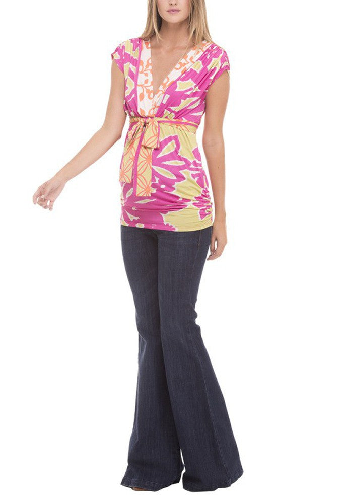 The Olian Empirewaist V-neck Shirred Shoulders Print Top