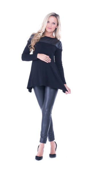 The Olian 'Bailey' Contrast Faux Leather Yoke Top