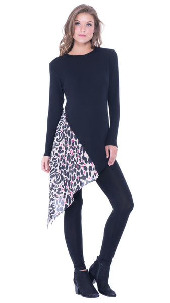 The Maternity Asymmetrical Animal Print Side Tie Top