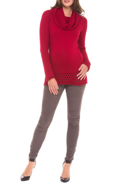 Olian Maternity Cowl Neck Sweater