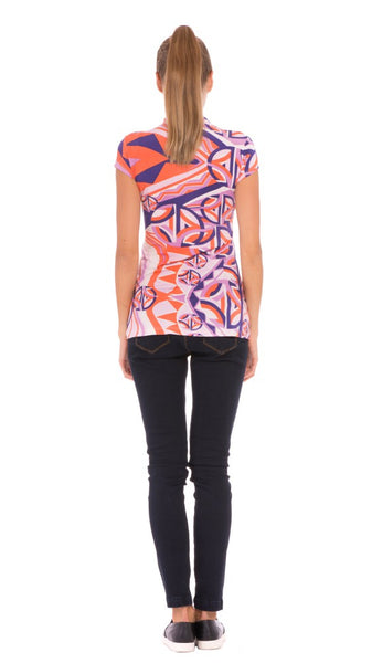 "The Olian ""Aimee"" Ruched Front Print Top"
