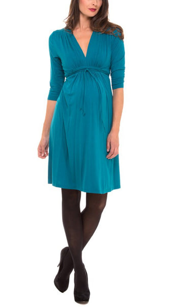 The V-neck Shirred Shoulder 3/4 Sleeve Rayon Knit Dress