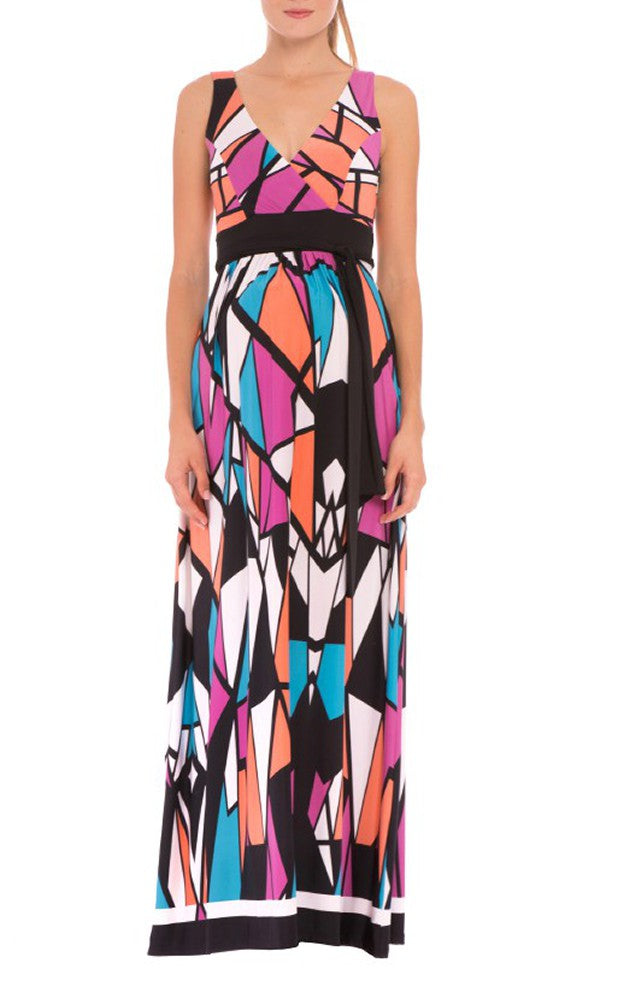 Olian Shirred Empire Waist Maxi Dress
