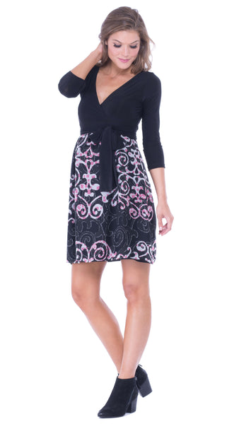 Olian Surplice Front Empirewaist Dress