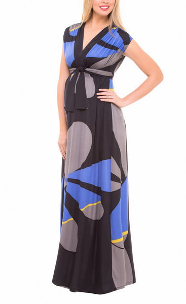 Olian Maternity Empire Geometric Print Maxi Dress