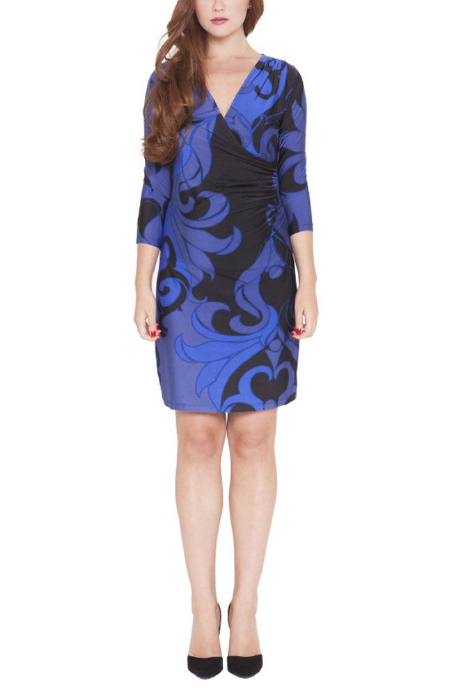 The Olian Shirred Side Faux Wrap Dress