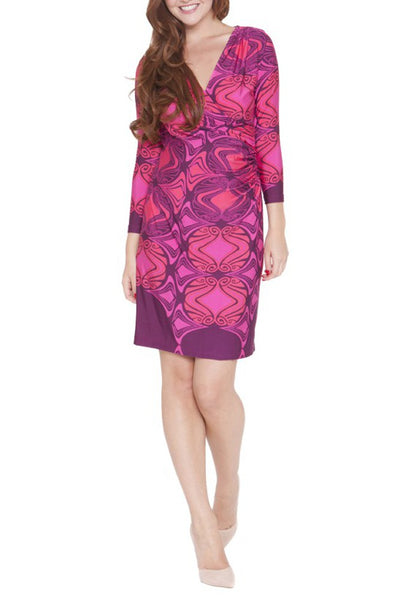 Olian Faux Shirred Side Wrap Dress