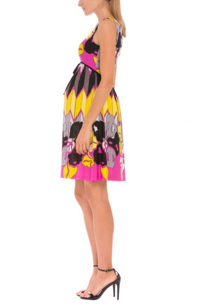The Olian Sleeveless Zig Zag/Floral Print Dress