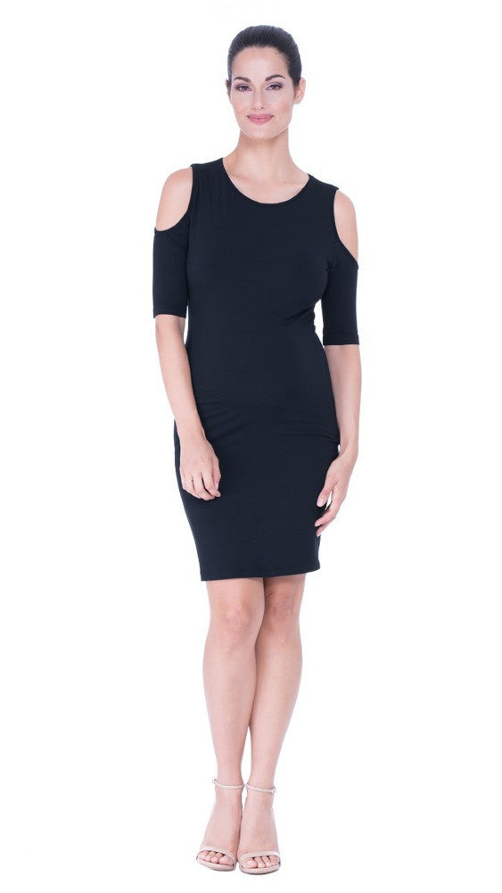 The Olian Cold Shoulder Body-Con Maternity Dress