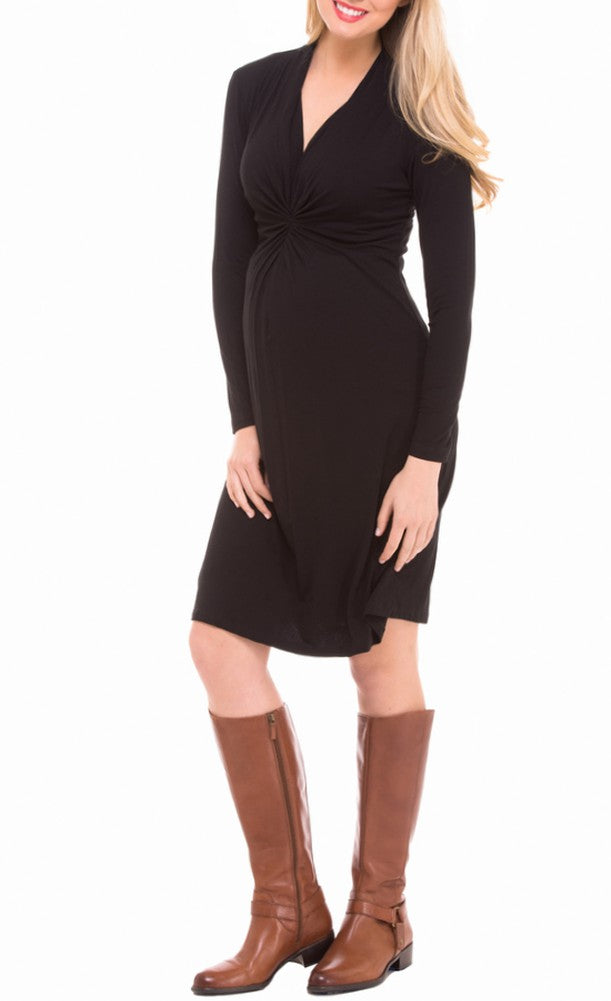 The Olian Classic Ruched V-neck Rayon Knit dress