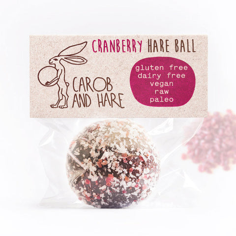 Cranberry Hare Ball - Carob and Hare | Raw, Vegan & Gluten-Free Snack Foods