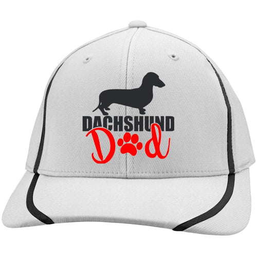 Dachshund Dad Shorthair (Red) Embroidered Flexfit Colorblock Cap