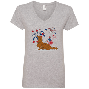 Patriotic Longhair Red Ladies' V-Neck T-Shirt