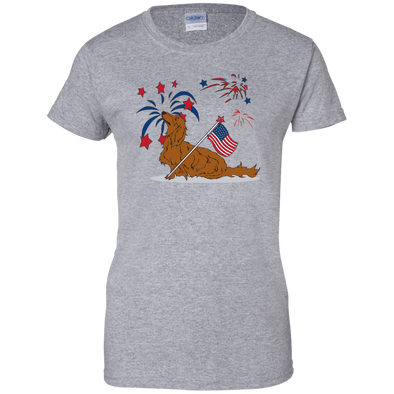 Patriotic Longhair Red Ladies' 100% Cotton T-Shirt