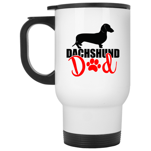 Dachshund Dad Shorthair (Red) 14 oz. Stainless Steel Travel Mug