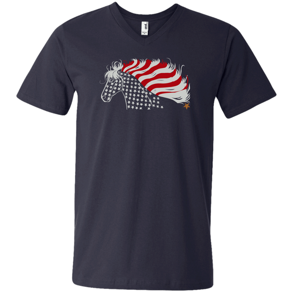Patriotic Horse Navy V-Neck T-Shirt