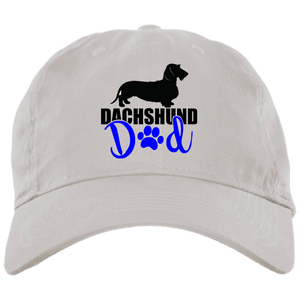 Dachshund Dad Wirehair (Blue) Embroidered Brushed Twill Unstructured Dad Cap