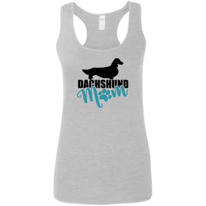 Dachshund Mom Longhair (Teal) Ladies' Softstyle Racerback Tank