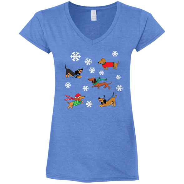 Dachshunds in Snowflakes Ladies' Fitted Softstyle V-Neck T-Shirt