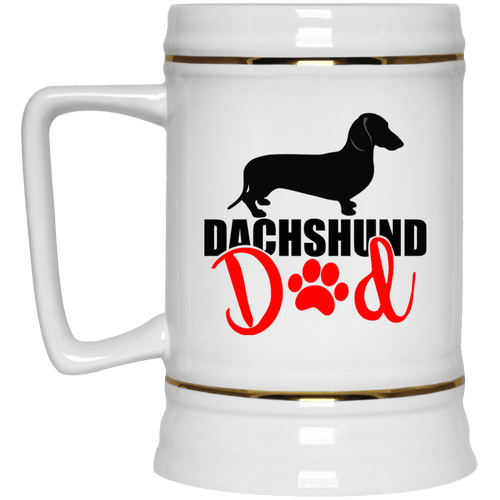 Dachshund Dad Shorthair (Red) 22 oz. Ceramic Beer Stein