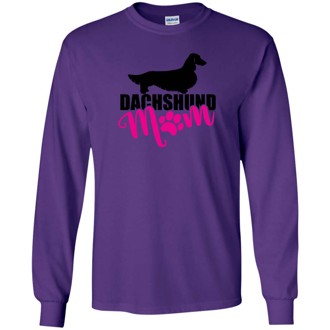 Dachshund Mom Longhair (Pink) Unisex LS Ultra Cotton T-Shirt
