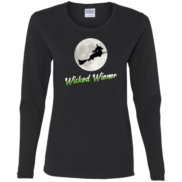Flying Wicked Wiener (Lime lettering) Ladies' LS T-Shirt