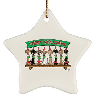 Wiener Dog Elf Shelf Ceramic Star Ornament