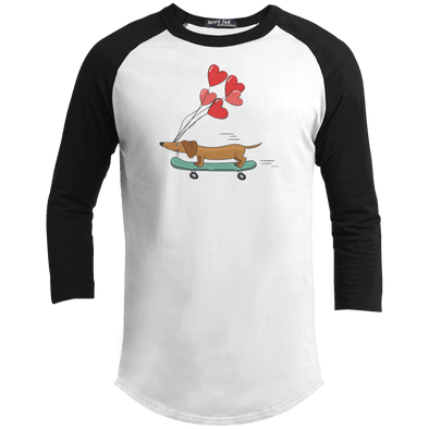 Skateboarding Doxie 100% Cotton Baseball Jersey