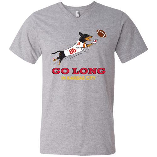 Go Long in Kansas City Men's V-Neck T-Shirt