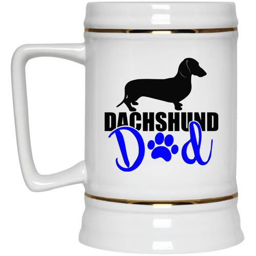 Dachshund Dad Shorthair (Blue) 22 oz. Ceramic Beer Stein