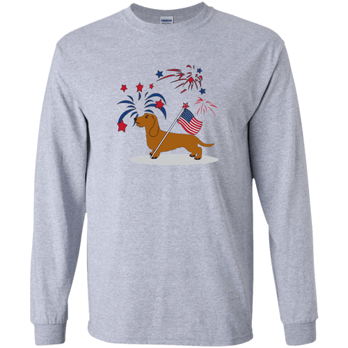Patriotic Wirehair Red LS Ultra Cotton Tshirt