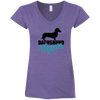 Dachshund Mom Shorthair (Teal) Ladies' Fitted Softstyle V-Neck T-Shirt