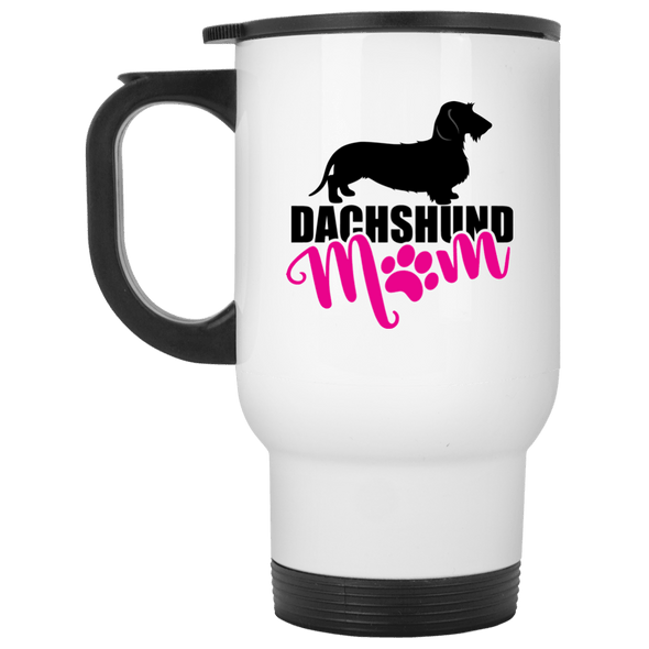 Dachshund Mom Wirehair (Pink) 14 oz. Stainless Steel Travel Mug