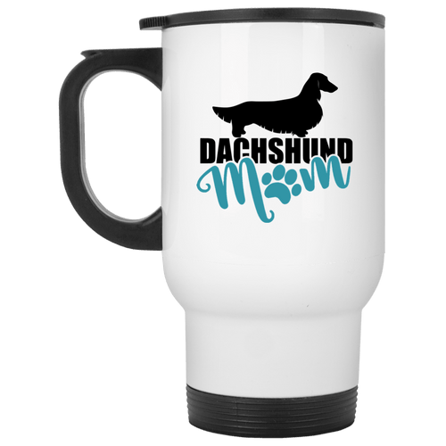 Dachshund Mom Longhair (Teal) 14 oz. Stainless Steel Travel Mug